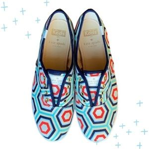 Kate Spade Keds blue and red slip on sneakers 6.5